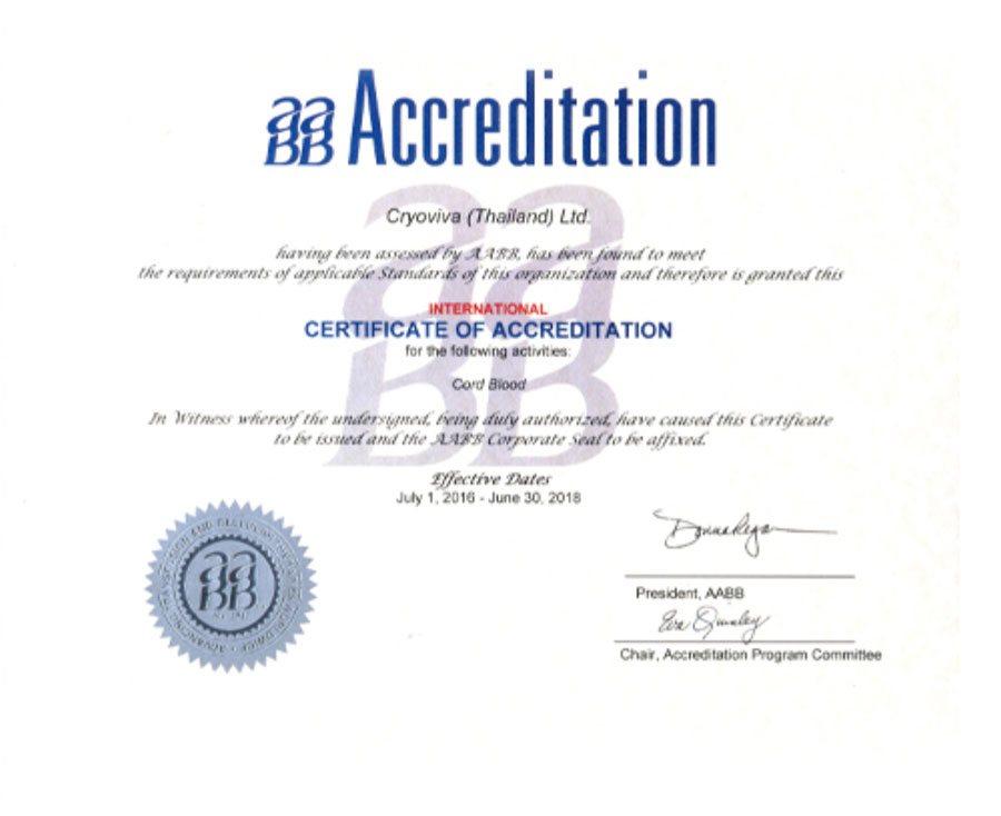 stem cell accreditation from AABB